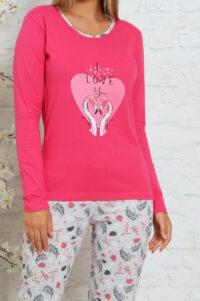 CHR 1027 róż hurtownia piżam damskich tanie piżamy damskie hurt producent piżam bawełnianych wólka hurtownia bielizny