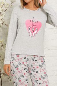 CHR 1027 szary hurtownia piżam damskich tanie piżamy damskie hurt producent piżam bawełnianych wólka hurtownia bielizny