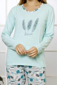 CHR 1029 mięta hurtownia piżam damskich tanie piżamy damskie hurt producent piżam bawełnianych wólka hurtownia bielizny