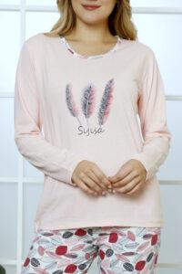 CHR 1029 róż hurtownia piżam damskich tanie piżamy damskie hurt producent piżam bawełnianych wólka hurtownia bielizny