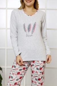CHR 1029 szary hurtownia piżam damskich tanie piżamy damskie hurt producent piżam bawełnianych wólka hurtownia bielizny
