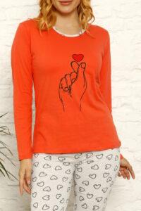 CHR 1030 pomarańcz hurtownia piżam damskich tanie piżamy damskie hurt producent piżam bawełnianych wólka hurtownia bielizny