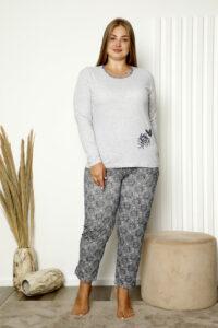 CHR 2008 szary hurtownia piżam damskich plus size tanie piżamy damskie plus size hurt producent piżam bawełnianych wólka hurtownia bielizny