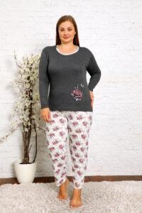 CHR 2010 szary hurtownia piżam damskich plus size tanie piżamy damskie plus size hurt producent piżam bawełnianych wólka hurtownia bielizny