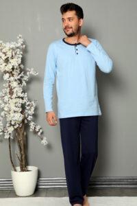 MNB 28025 niebieski hurtownia bielizny tureckiej wolka pizamy duman pizamy meskie hurtownia tanie pizamy hurt producent piżam męskich